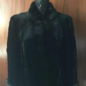Vintage Ross Furs Black Beaver Fur Coat M/L